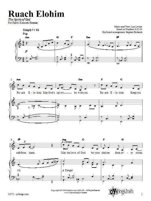 Partition piano Ruach Elohim de Lisa Levine - Piano Voix Guitare (Mélodie Main Droite)