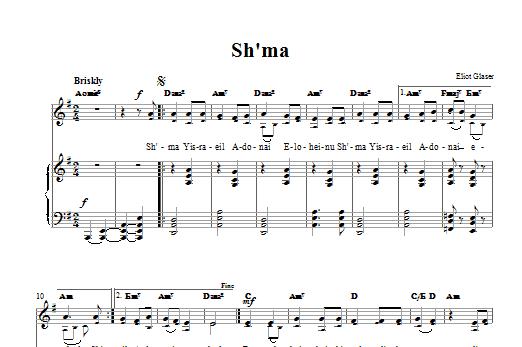 Partition piano Sh'ma de Eliot Glaser - Piano Voix Guitare (Mélodie Main Droite)