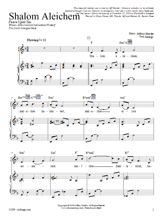 Partition piano Shalom Aleichem de Rebecca Schwartz - Piano Voix Guitare (Mélodie Main Droite)