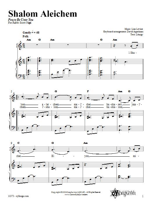 Partition piano Shalom Aleichem de Lisa Levine - Piano Voix Guitare (Mélodie Main Droite)