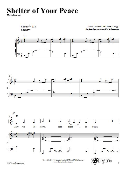 Partition piano Shelter of Your Peace de Lisa Levine - Piano Voix Guitare (Mélodie Main Droite)