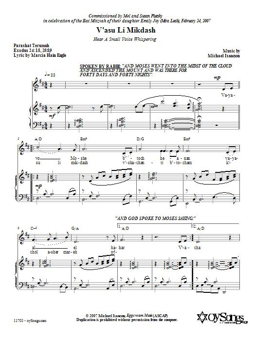 Partition piano V'asu Li Mikdash (Hear a Small Voice Whispering) de Michael Isaacson - Piano Voix Guitare (Mélodie Main Droite)