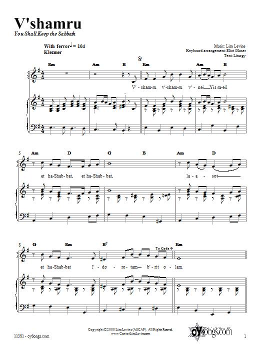 Partition piano V'shamru de Lisa Levine - Piano Voix Guitare (Mélodie Main Droite)