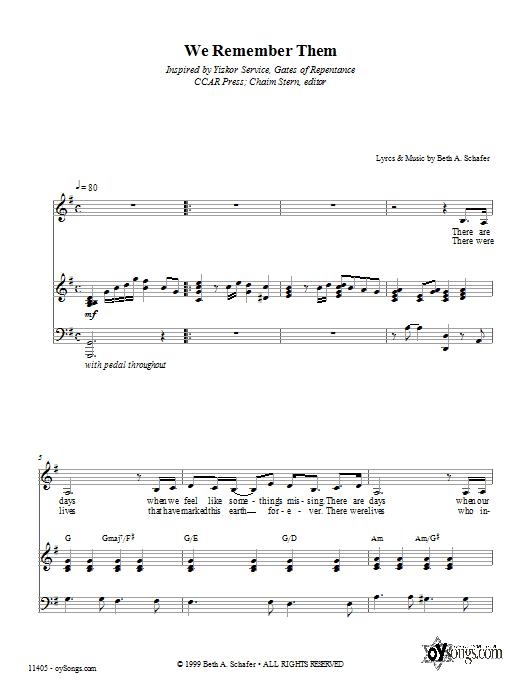 Partition piano We Remember Them de Beth Schafer - Piano Voix Guitare (Mélodie Main Droite)