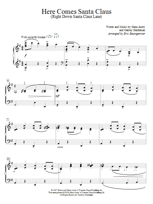 Here Comes Santa Claus (Right Down Santa Claus Lane) sheet music for piano solo (elementary) by Oakley Haldeman