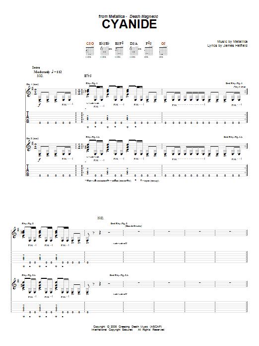 Tablature guitare Cyanide de Metallica - Tablature Guitare