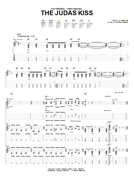 Tablature guitare The Judas Kiss de Metallica - Tablature Guitare