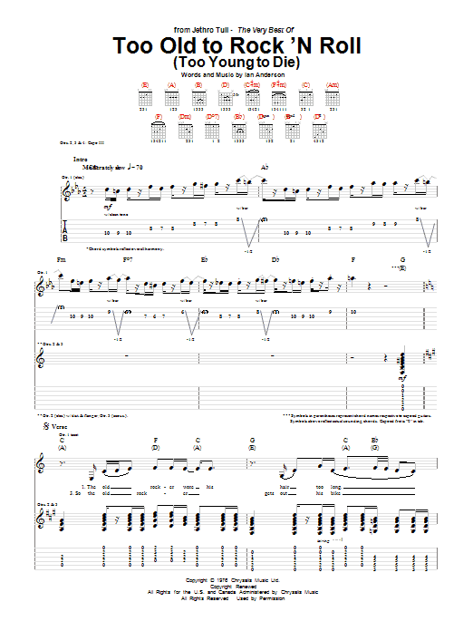Tablature guitare Too Old To Rock 'N Roll (Too Young To Die) de Jethro Tull - Tablature Guitare