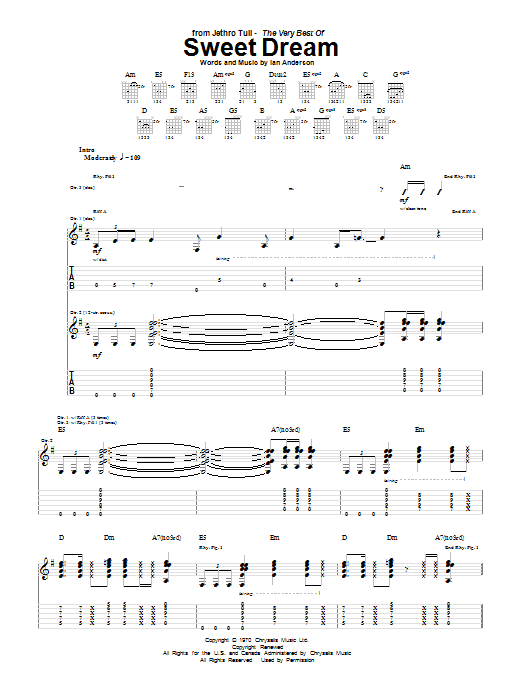 Tablature guitare Sweet Dream de Jethro Tull - Tablature Guitare