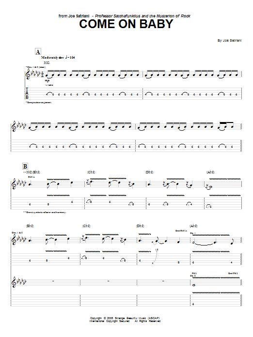 Tablature guitare Come On Baby de Joe Satriani - Tablature Guitare