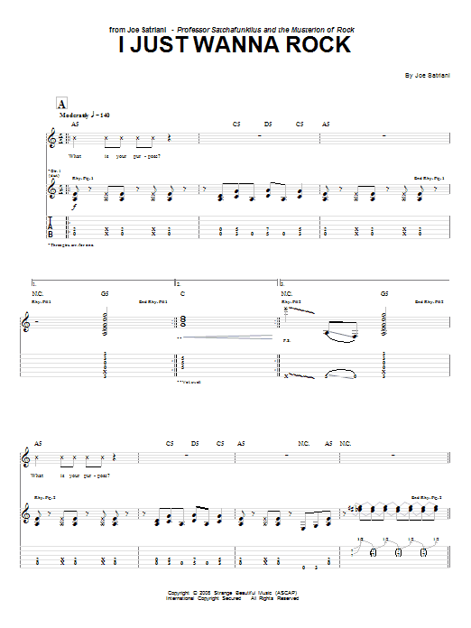 Tablature guitare I Just Wanna Rock de Joe Satriani - Tablature Guitare