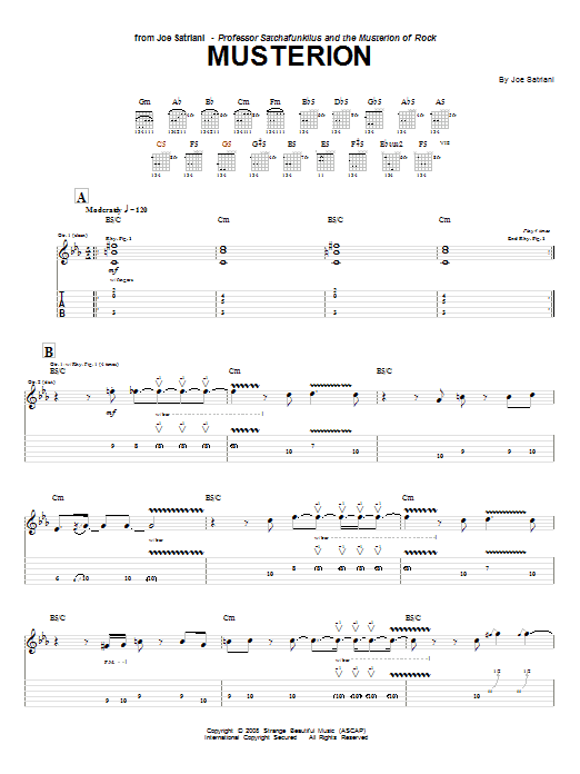 Tablature guitare Musterion de Joe Satriani - Tablature Guitare