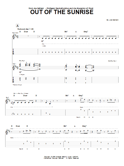 Tablature guitare Out Of The Sunrise de Joe Satriani - Tablature Guitare