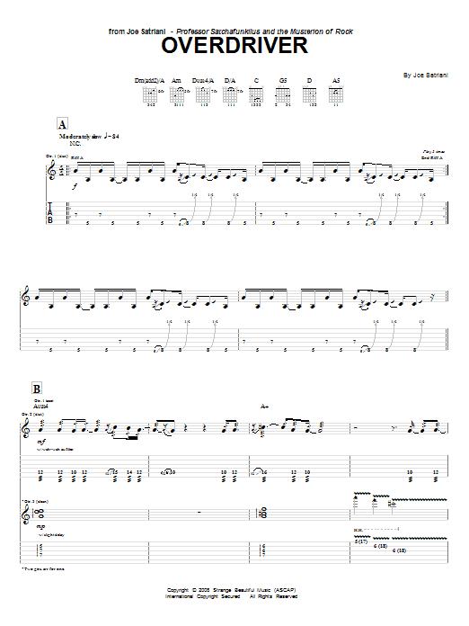 Tablature guitare Overdriver de Joe Satriani - Tablature Guitare