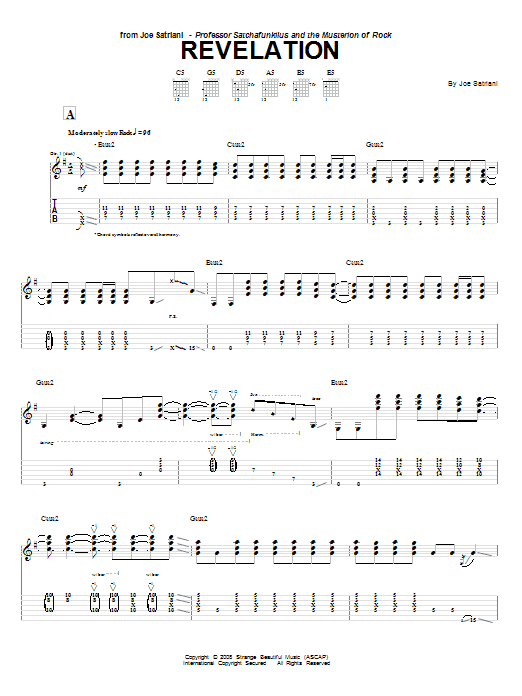 Tablature guitare Revalation de Joe Satriani - Tablature Guitare