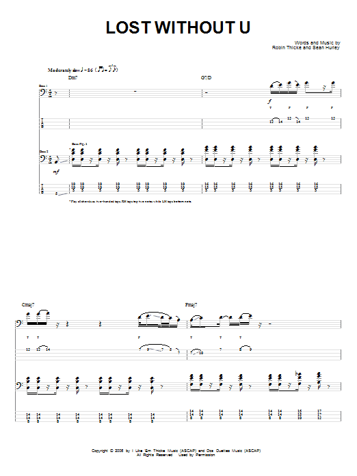 Lost Without U sheet music for bass (tablature) (bass guitar) by Sean Hurley