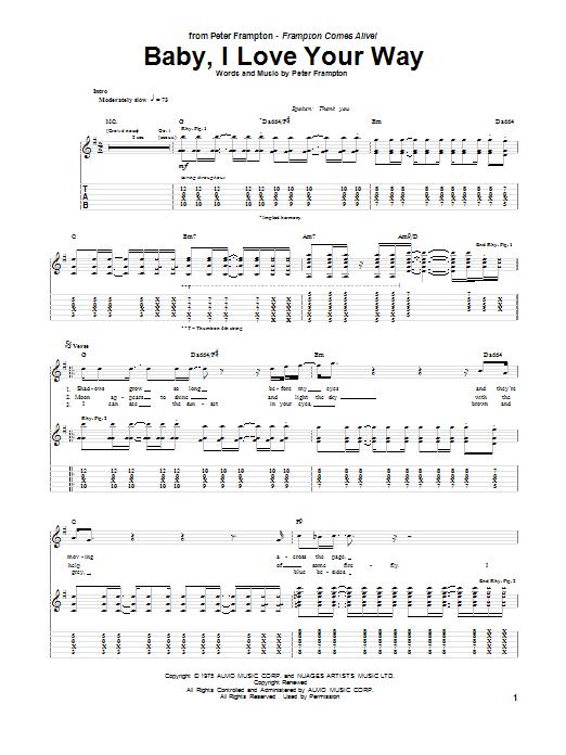 Tablature guitare Baby, I Love Your Way de Peter Frampton - Tablature Guitare
