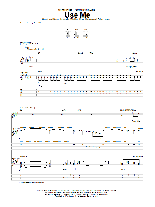 Tablature guitare Use Me de Hinder - Tablature Guitare