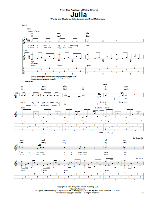 Tablature guitare Julia de The Beatles - Tablature Guitare