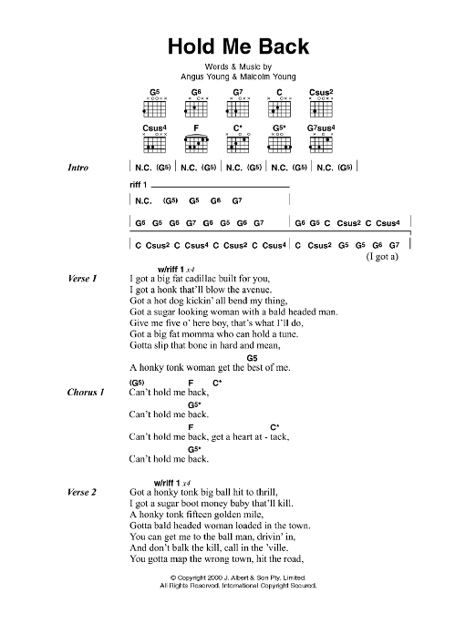 Hold Me Back sheet music for guitar solo (chords, lyrics, melody) by Angus Young