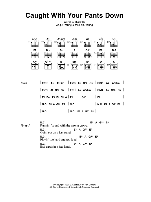 Caught With Your Pants Down sheet music for guitar solo (chords, lyrics, melody) by Angus Young