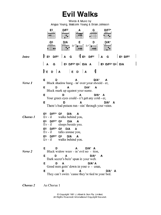 Evil Walks sheet music for guitar solo (chords, lyrics, melody) by Angus Young
