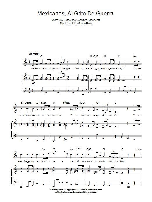 Mexicanos, Al Grito De Guerra (Mexican National Anthem) sheet music for voice, piano or guitar by Francisco Gonzalez Bocanegra