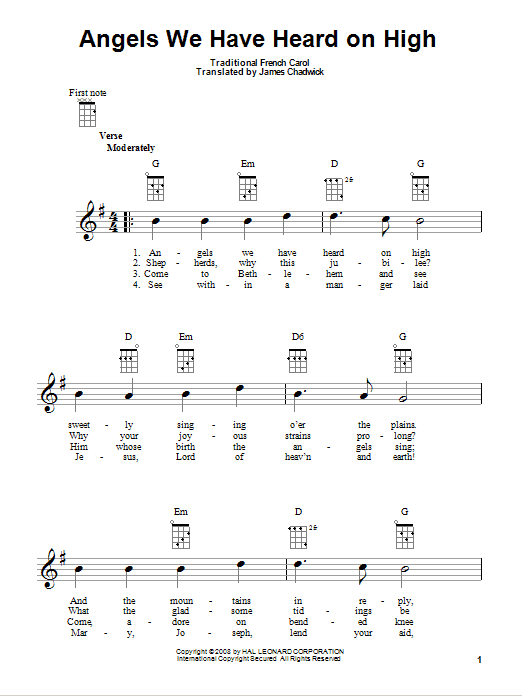 Tablature guitare Angels We Have Heard On High de Traditional French Carol - Ukulele