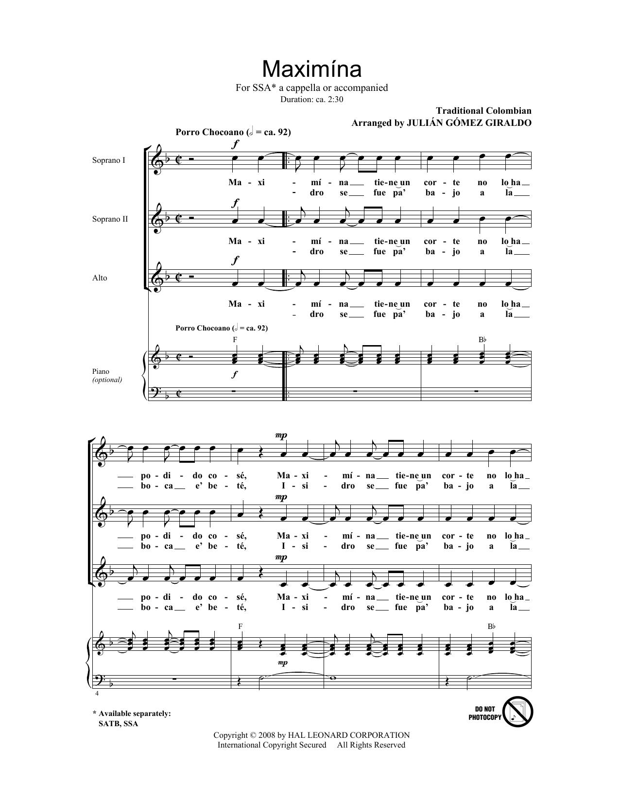 Partition chorale Maximina de Julian Gomez Giraldo - SSA