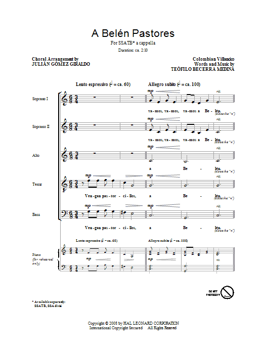 A Belen Pastores (Villancico) sheet music for choir and piano (SATB) by Teofilo Becerra Medina