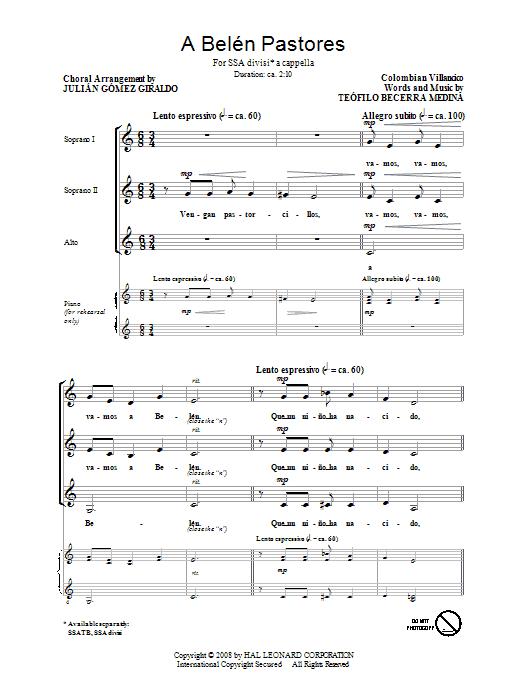 Partition chorale A Belen Pastores (Villancico) de Julian Gomez Giraldo - SSA