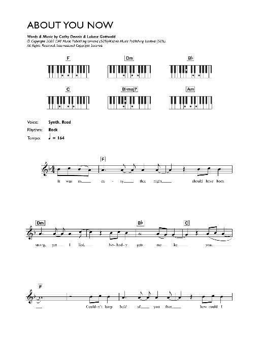 About You Now sheet music for voice and other instruments (fake book) by Cathy Dennis