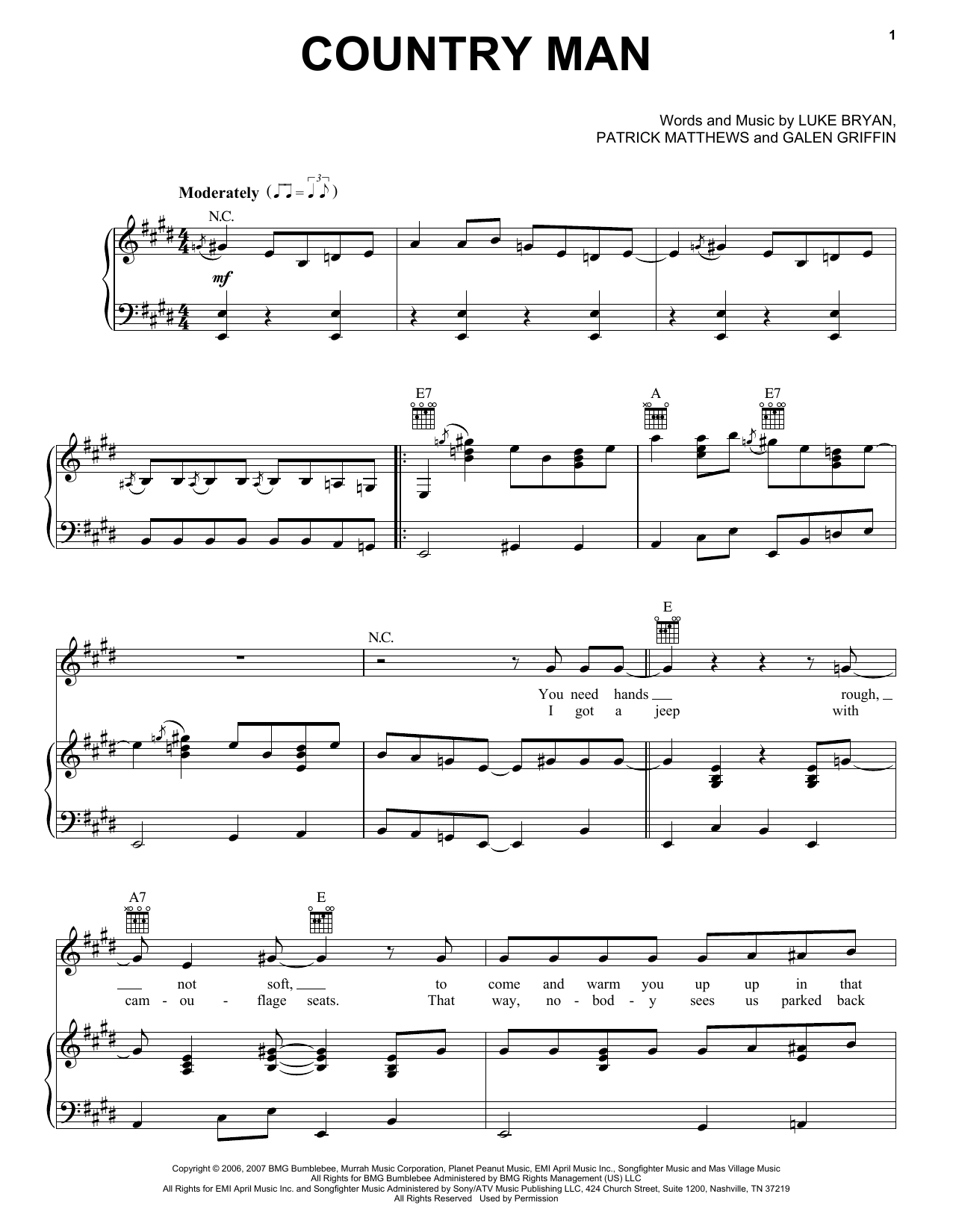 Country Man sheet music for voice, piano or guitar by Patrick Matthews