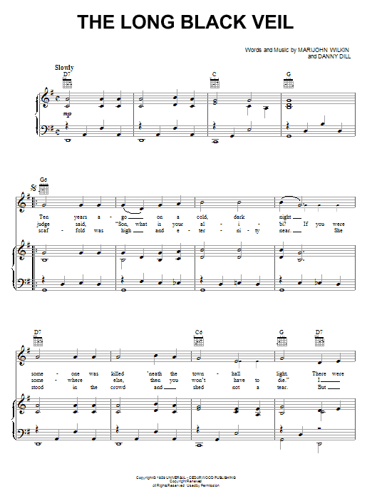The Long Black Veil sheet music for voice, piano or guitar by Marijohn Wilkin