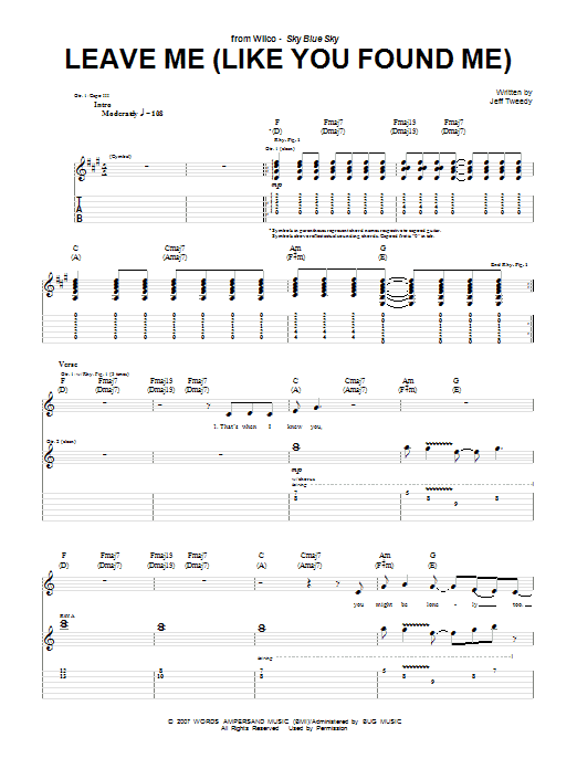 Leave Me (Like You Found Me) sheet music for guitar solo (tablature) by Jeff Tweedy