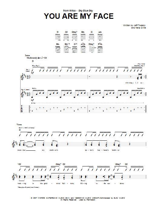 Tablature guitare You Are My Face de Wilco - Tablature Guitare