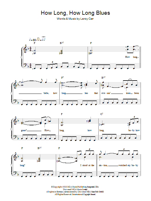 How Long How Long Blues sheet music for piano solo (chords) by Leroy Carr