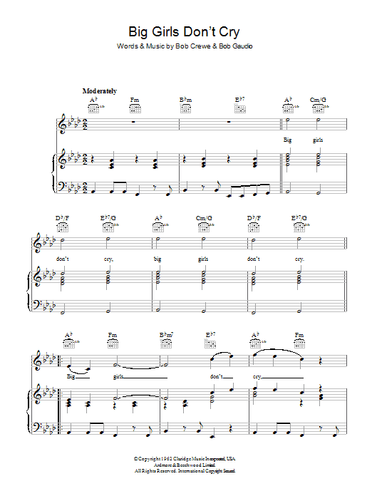 Sheet Music Digital Files To Print - Licensed Bob Gaudio Digital ...