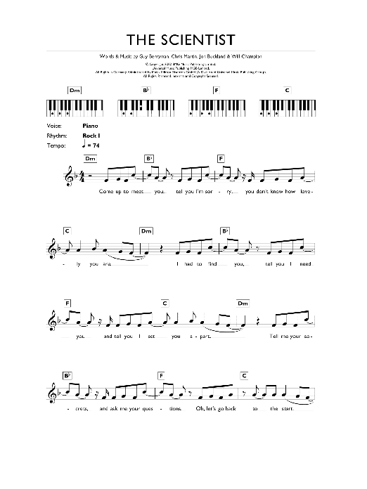 Coldplay Fix You Piano Chords And Lyrics