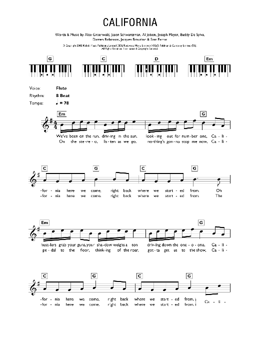 California (Theme from The OC) sheet music for piano solo (chords, lyrics, melody) by Sam Farrar