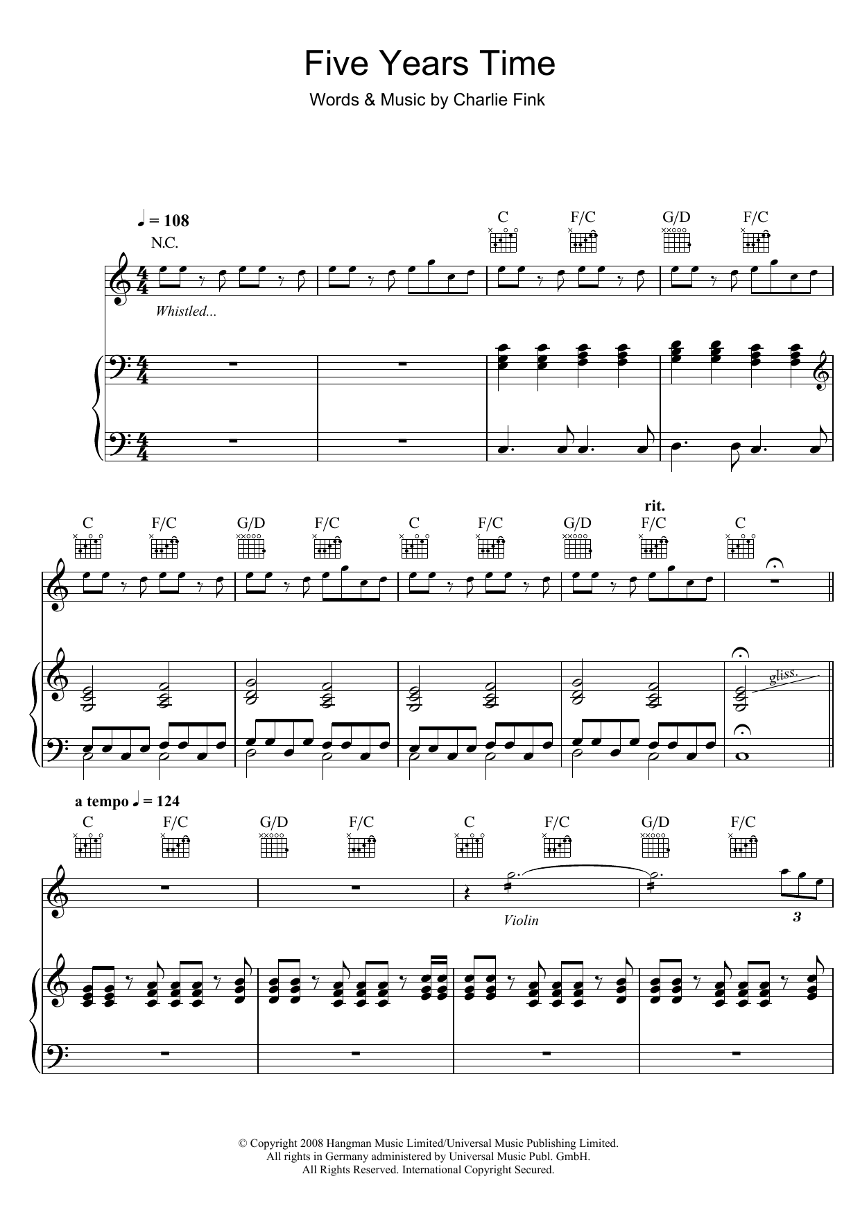 5 Years Time sheet music for voice, piano or guitar by Charlie Fink