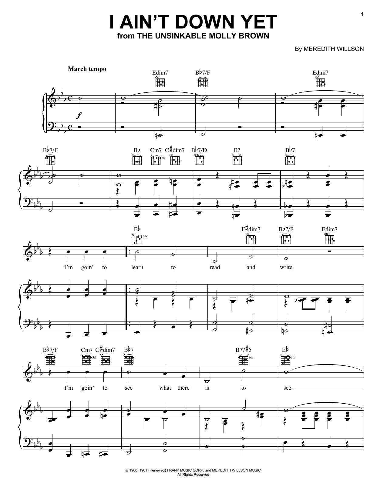 Partition piano I Ain't Down Yet de Meredith Willson - Piano Voix Guitare (Mélodie Main Droite)