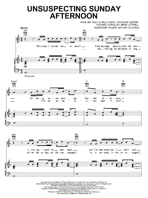 Unsuspecting Sunday Afternoon sheet music for voice, piano or guitar by Nicholas Carter
