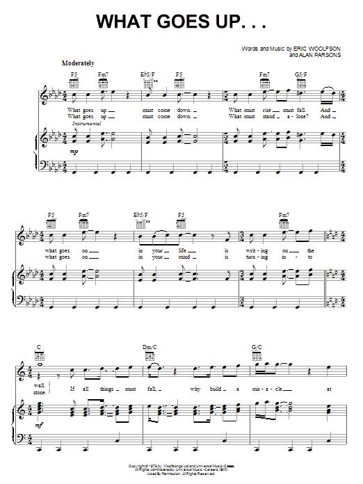 Partition piano What Goes Up... de Alan Parsons Project - Piano Voix Guitare (Mélodie Main Droite)