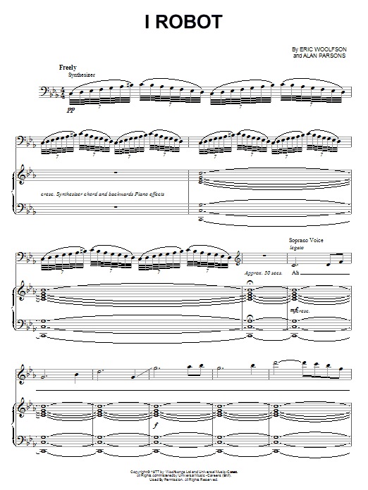 Partition piano I Robot de Alan Parsons Project - Piano Voix Guitare (Mélodie Main Droite)