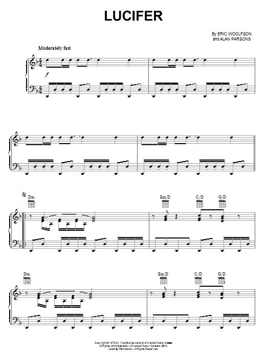 Partition piano Lucifer de Alan Parsons Project - Piano Voix Guitare (Mélodie Main Droite)