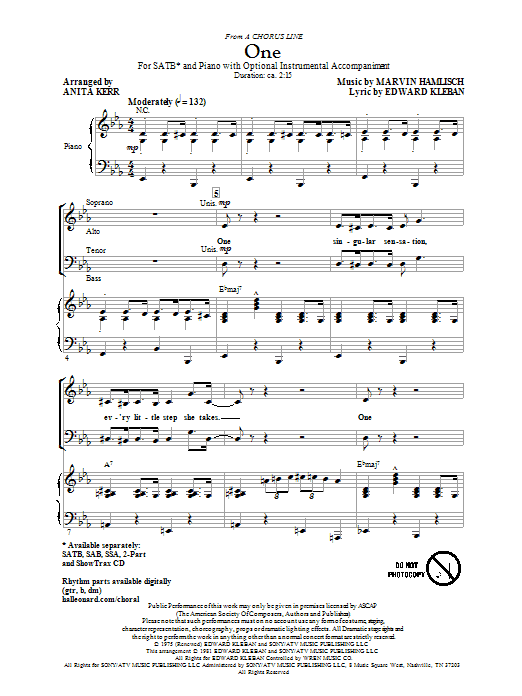 Partition chorale One (from A Chorus Line) de Anita Kerr - SATB