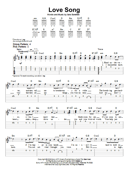 Tablature guitare Love Song de Sara Bareilles - Tablature guitare facile
