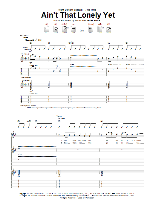 Tablature guitare Ain't That Lonely Yet de Dwight Yoakam - Tablature Guitare