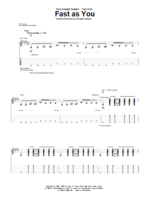 Tablature guitare Fast As You de Dwight Yoakam - Tablature Guitare